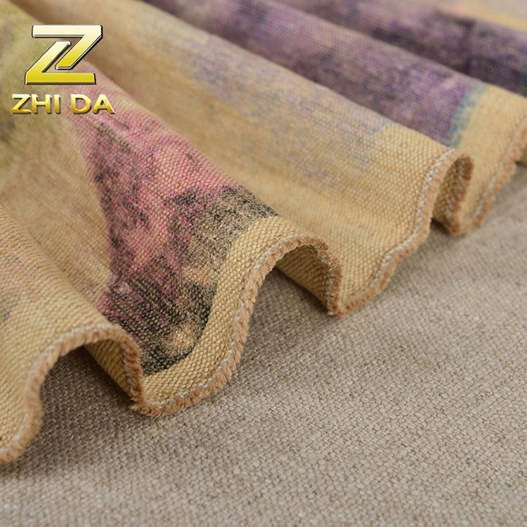 55% cotton 45% jute tie dyed cheap curtain wholesale quality jute printing fabric