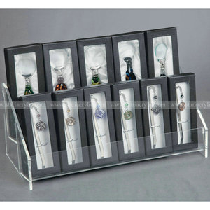 12 pieces Acrylic Wine Bottle Stopper Display Holder rack, Acrylic Two tiers Display Stands for Blister package items