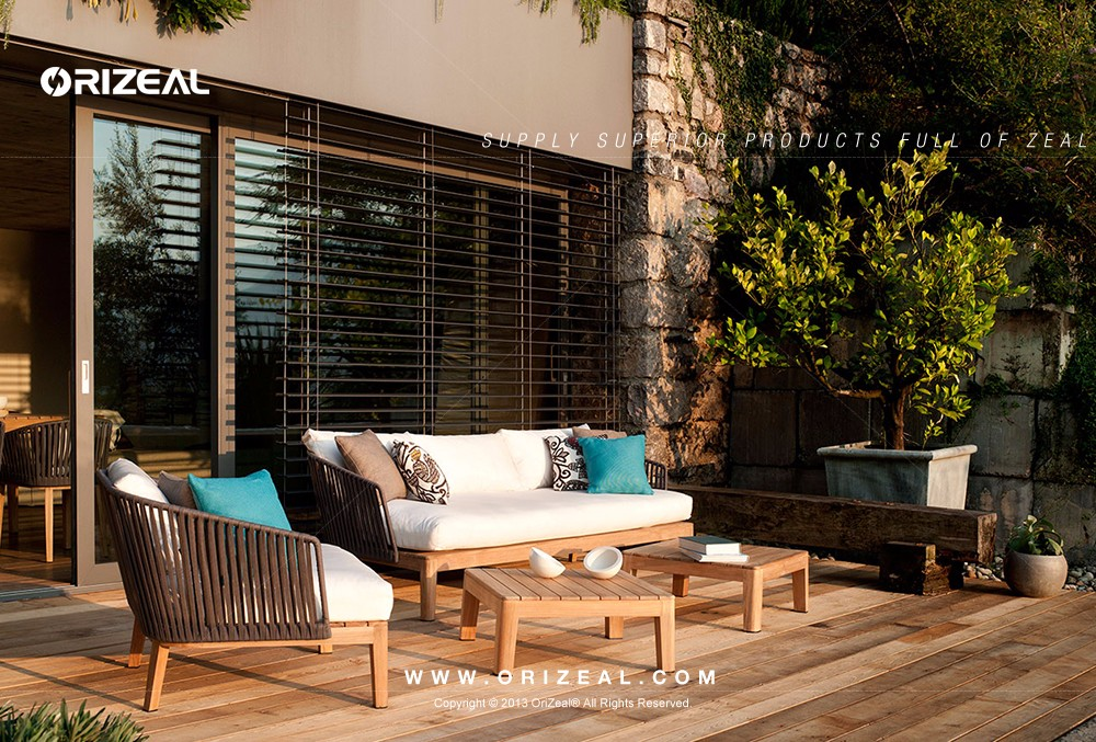 Outdoor Teak Wooden Sofa with Cord OZ-OR078