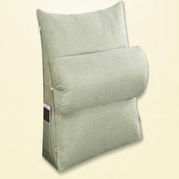 Square massage cushion with pocket, office lumbar support cushion, solid cotton linen back support cushion
