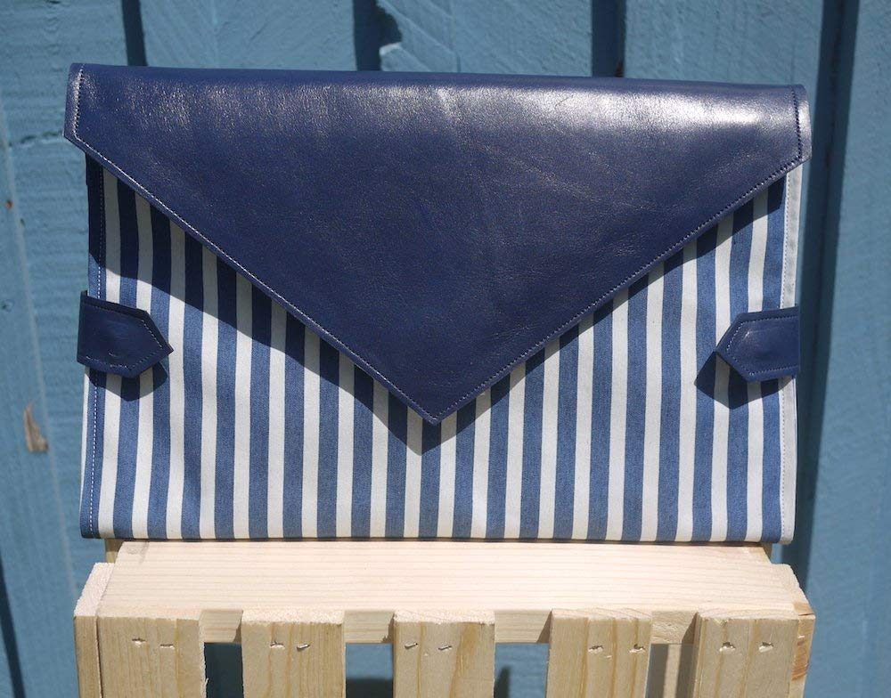 Royal blue leather with blue and white stripes diaper clutch with blue and white spotted mat