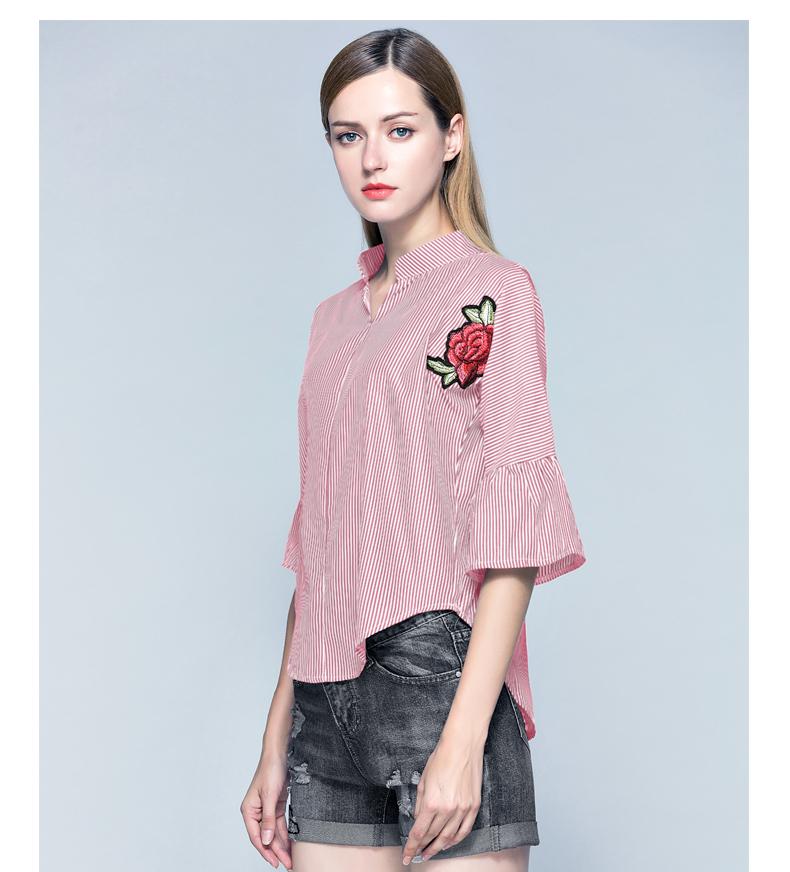 ea8eb3e79 Nueva Moda Mujeres Camisas Casuales Blusas De Verano Plus Tamaño Manga  Corta Flor Bordado Rayas Blusa Camisa Mujer - Buy Blusa De Gran Tamaño,Plus  ...