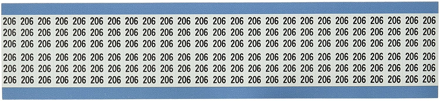 Brady WM-206-PK Repositionable Vinyl Cloth (B-500), Black on White, Solid Numbers Wire Marker Card (25 Cards)