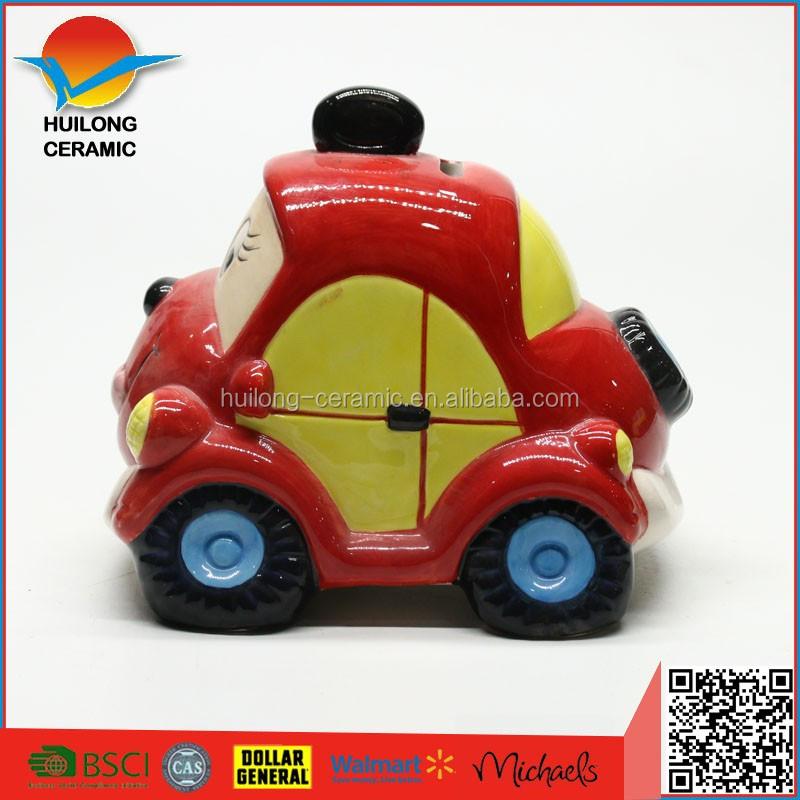 direct factory manufacture colorful car shaped ceramic kids money safe boxceramic yellow car design
