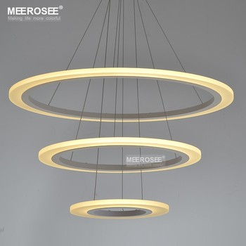 Meerosee Lighting Have The Call White Led Acrylic Pendant Light Cord Md5057 Circle Lamp