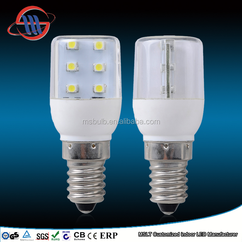 refrigerator lamp T25 E14 fridge led bulb 0.8W 65lm SMD2835 220-240V PC COVER TUV CE ROHS
