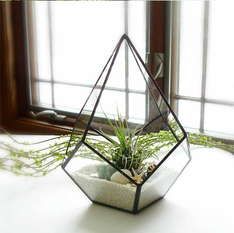 Modern Indoor Opening Glass Geometric Wall Hanging Plant Terrarium  for Tabletop Window Decorative