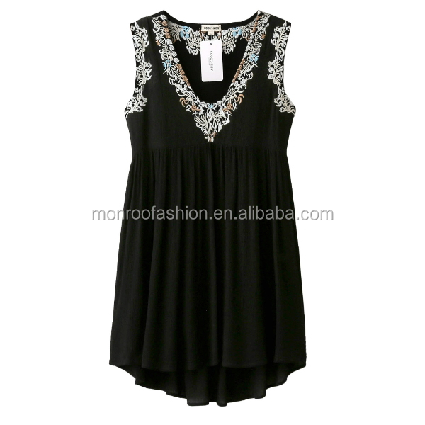 monroo neck fashion embroidered beautiful women dress