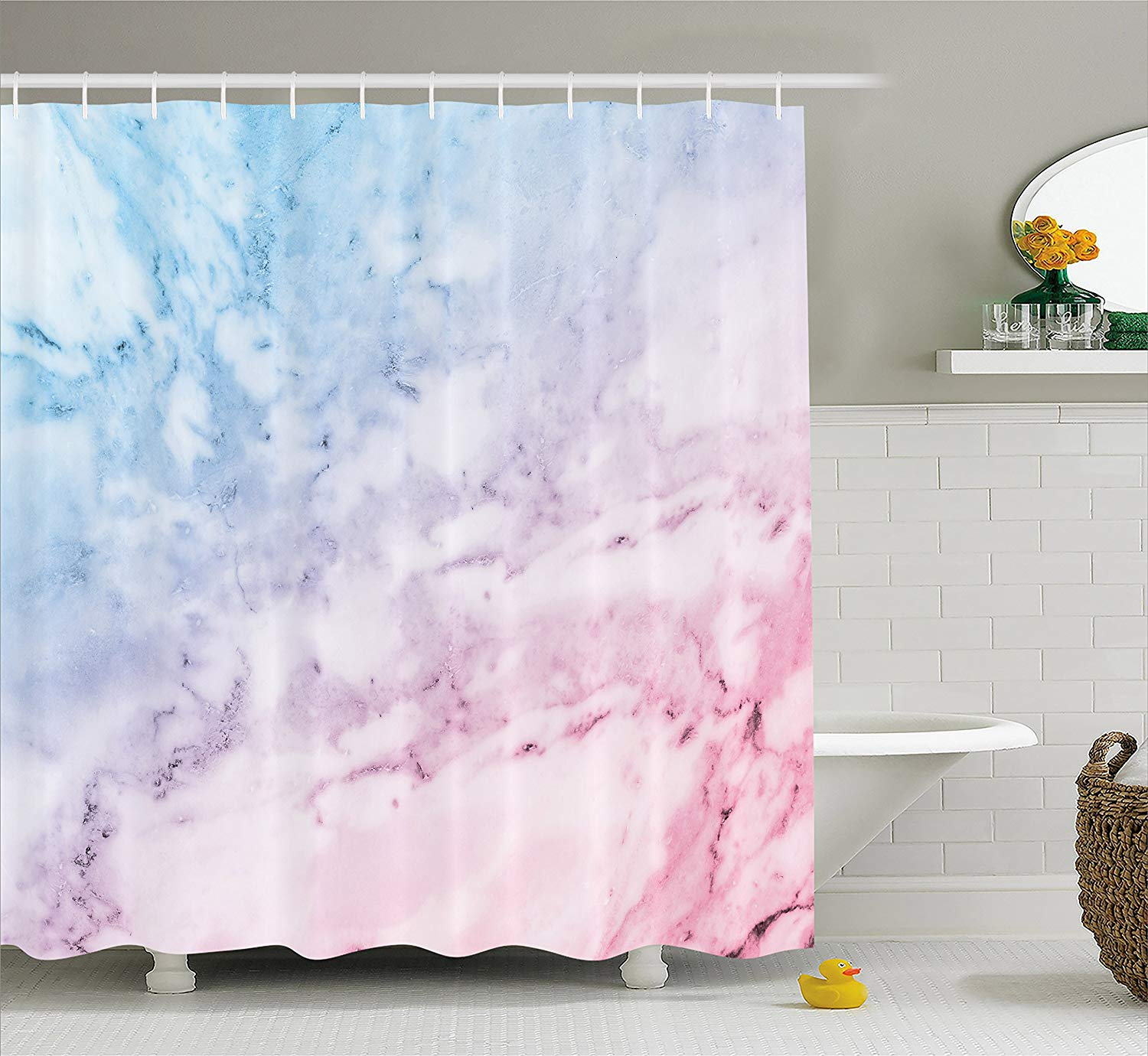 Ambesonne Marble Shower Curtain, Pastel Toned Cloudy Hazy Crack Lines Stained Antique Shabby Chic Design, Fabric Bathroom Decor Set with Hooks, 70 Inches, Light Blue Baby Pink