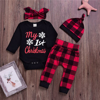 cheap newborn romper baby clothes Wholesale Baby My First Christmas baby clothes set