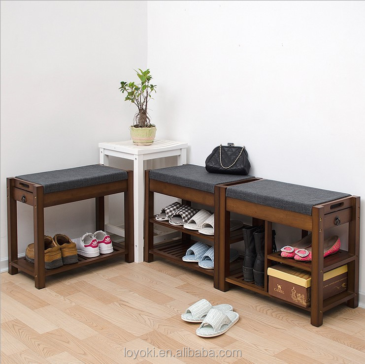 Eco friendly unique bamboo shoe rack 2 Titer Bamboo Storage Bench with seat