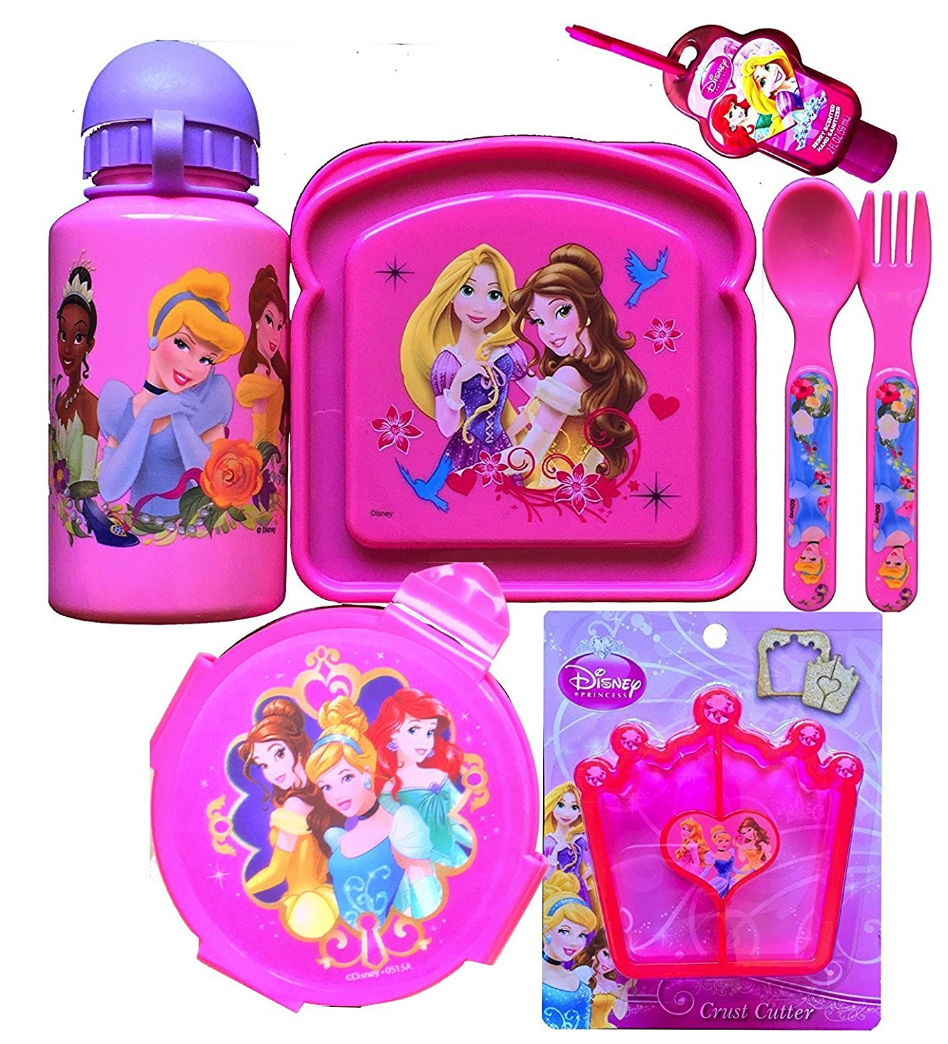 Disney Princess 7 Piece Lunch Set Includes Princess Bottle, Sandwich Container, Snack Container, Utensils with Princess Crust Cutter and Hand Sanitizer (Sports Bottle)