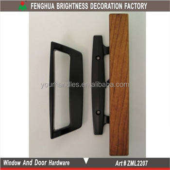 Usa Sliding Inside Pull With Wood Handleblack Patio Door Handle
