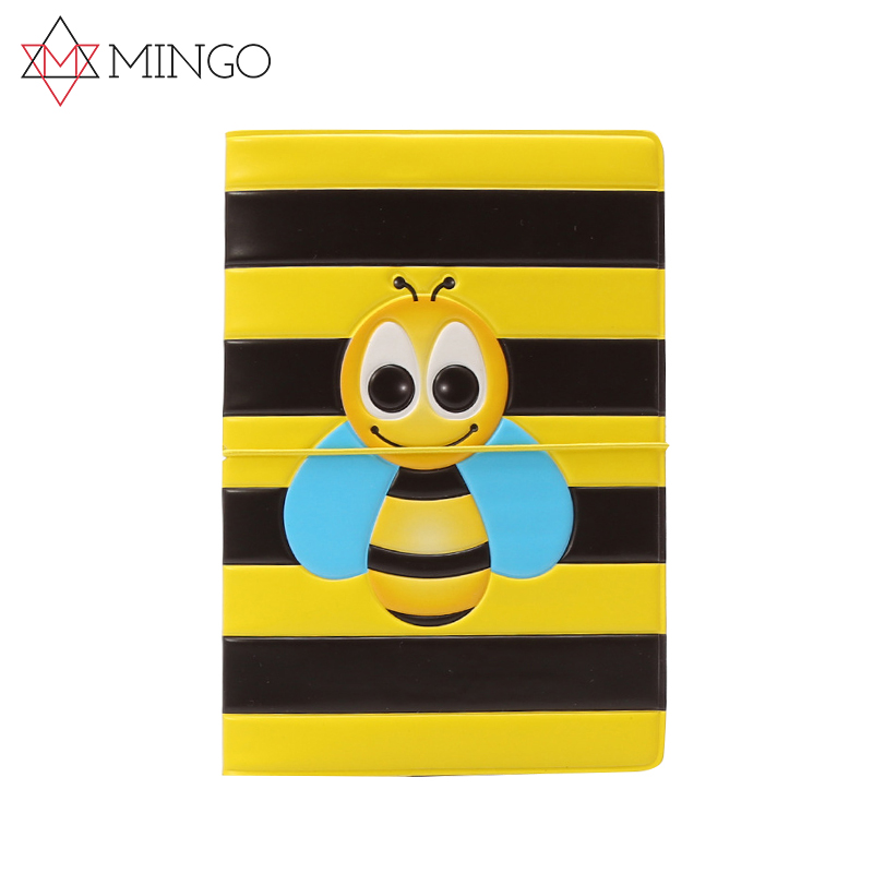 Honey Bee Pollinate Yellow Flower Blocking Print Passport Holder Cover Case Travel Luggage Passport Wallet Card Holder Made With Leather For Men Women Kids Family