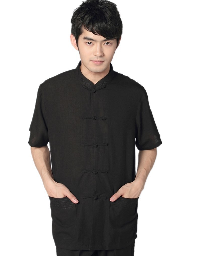Black t shirt with suit - Get Quotations Free Shipping New Arrival Black Linen Tai Chi Shirt Chinese Traditional Clothing Tang Suit Mandarin Collar