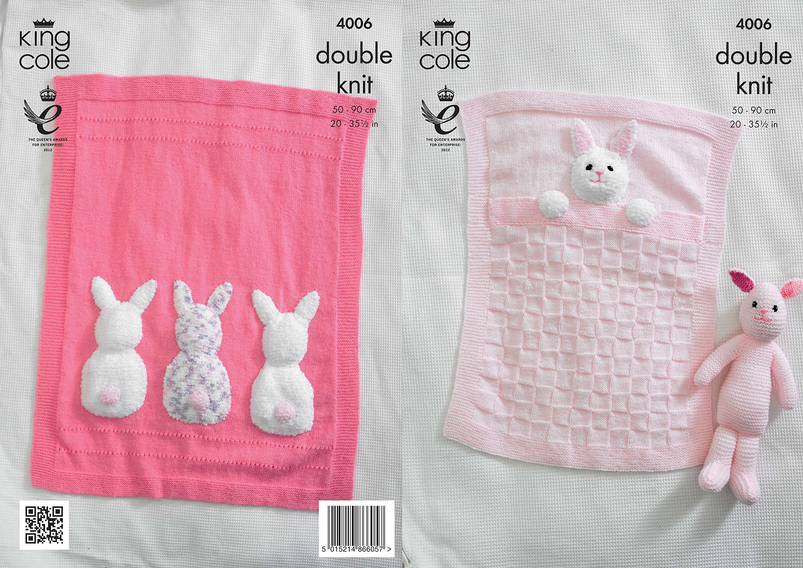 King Cole Double Knitting Pattern for Baby Blankets & Bunny Rabbit Toy Comfort Cuddles DK (4006)