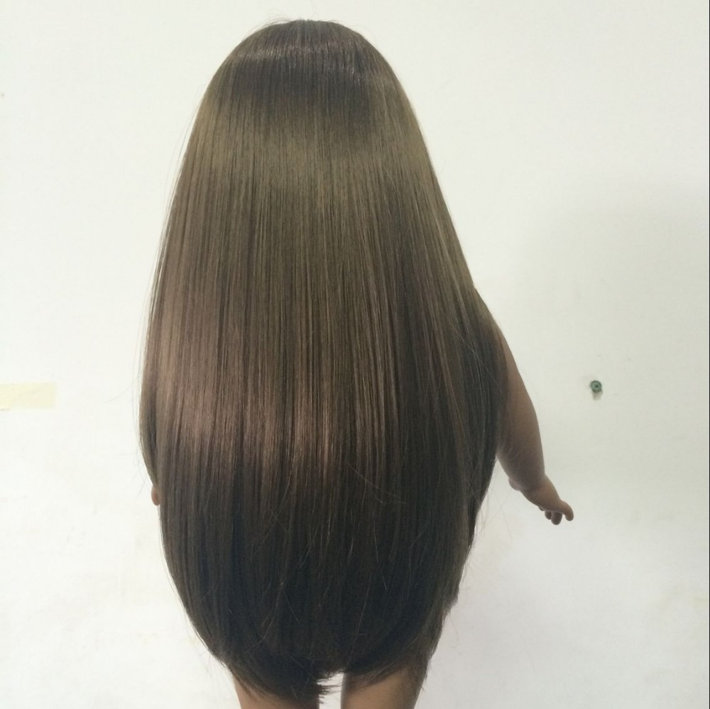 Wholesale American girl doll wigs/long black straight hair wig/cheap doll wig