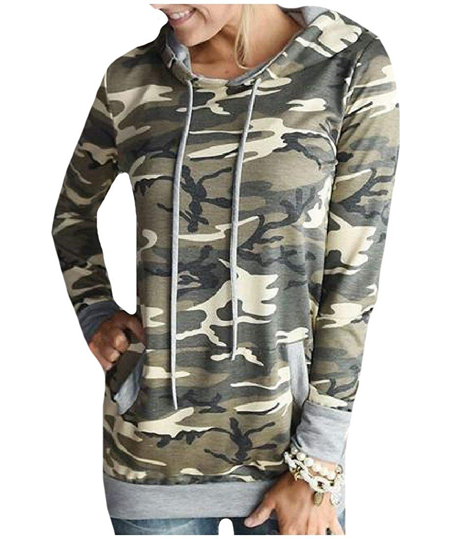 c90a7a797856c Get Quotations · XQS Womens Plus Size Pullover Camo Print Hooded Hoodie  Blouse Tops
