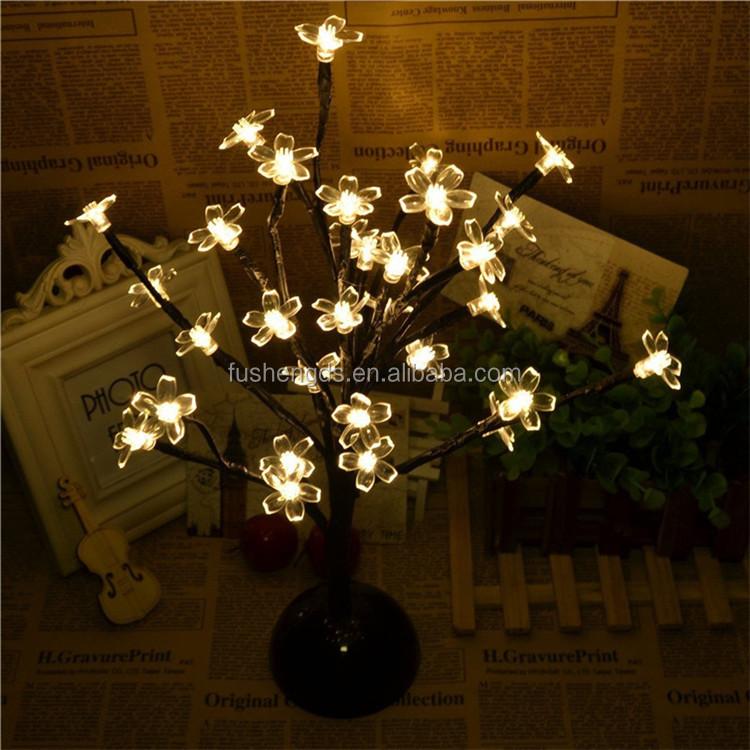 batterij aangedreven led desktop perzik bloesem boom licht 32 led verlichting warm
