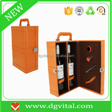 High Quality Orange Faux leather Two Bottle Wine Carrier Gift Box with 4 wine Accessories D03