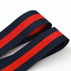 Custom weaving red striped grosgrain ribbon for garment cloth