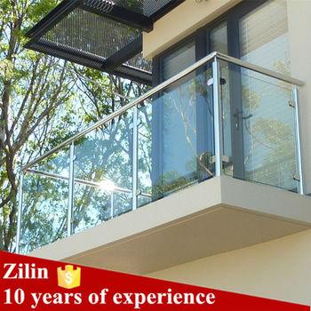 Lantai Dipasang Kaca Railing Balkon Desain Dengan Stainless Steel