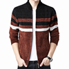 Full zip Chenille wool sweater striped knitted sweater coat for men made in China