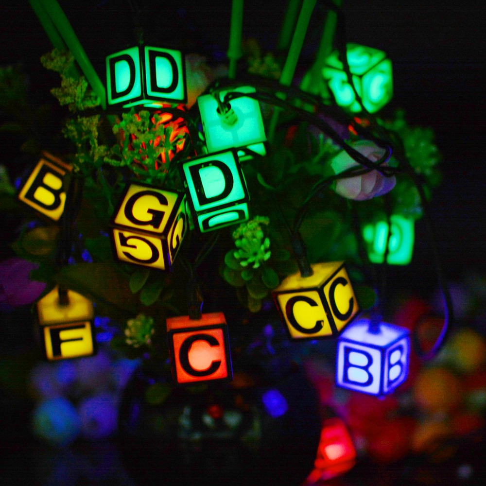 Crystal LED Letters Solar Fairy String Light 6M 30LED Outdoor Party Christmas New Year Birthday Decoration
