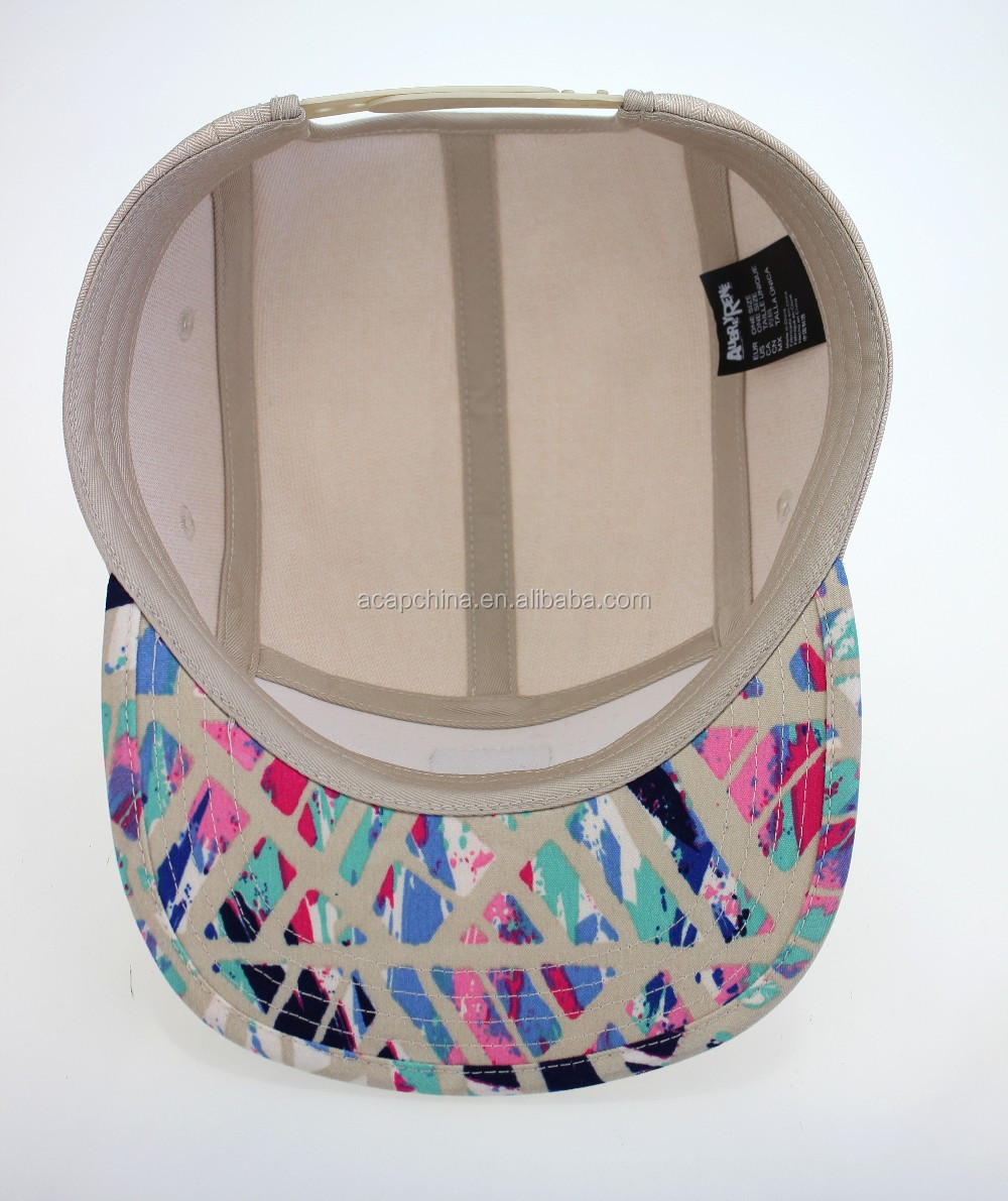 5 Panel cotton fabric Leather Badge Snapback Cap with floral pattern flat brim