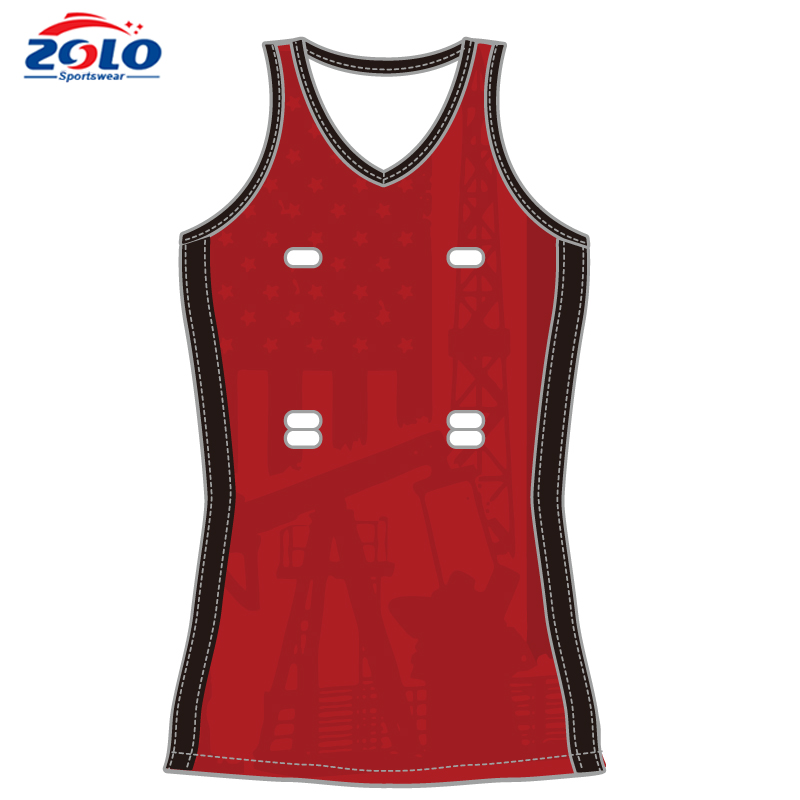 New style cheap sublimated custom made girls netball jersey