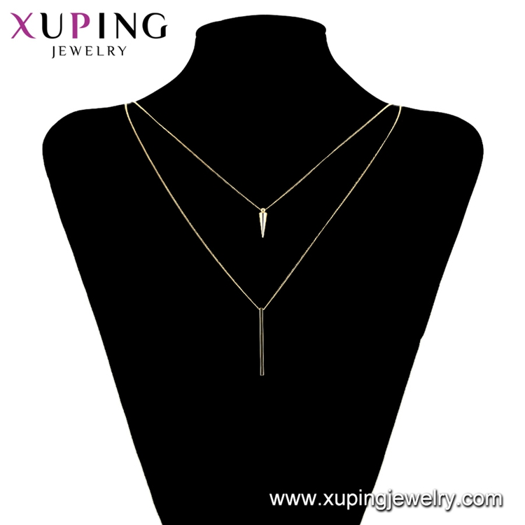 00735 xuping simple fashion brass alloy two layer y shape necklace