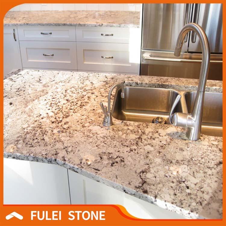 Prefab Alaska White Granite Long Island Countertops Kitchen