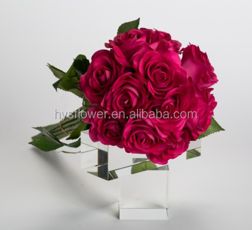 Handmade Decoration Flower Latex Real Touch Hot Pink Rose ...