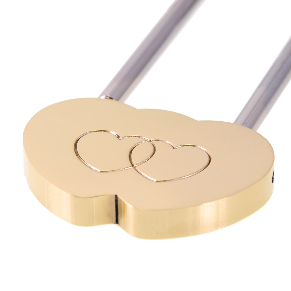 MINI Solid Brass Love Lock Wish Lock Double Heart Padlock Everlasting Love for lovers