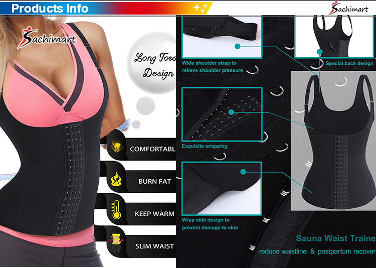 Waist Trainer Corset Vest for Weight Loss Sport Body Shaper Workout Underbust Cincher Steel Boned Tummy Tank
