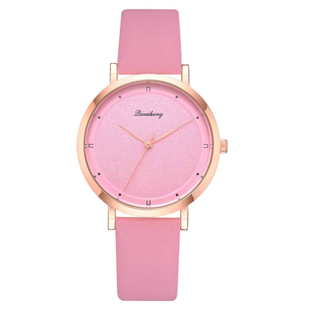 3e23179d9e6 Get Quotations · AKwell Girls Ladies Leather Flash Dial Quartz Analog Wrist Watches  Gold Round Simple Women s Watch
