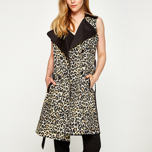 65%Polyester 35%cotton leopard print long travel woman vest