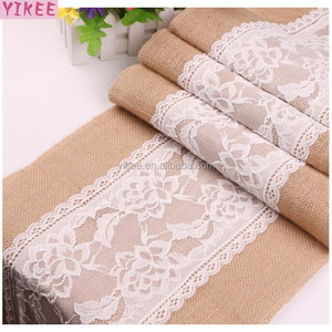 dining table runner with lace for wedding,burlap table runner for rectangle tables