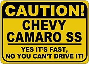 Personalized Parking Signs CHEVY CAMARO SS Caution Its Fast Aluminum Caution Sign - 12 x 16 Inches