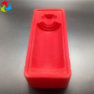 Custom Red Color PS Wine Bottle Packaging Plastic Flocking Tray