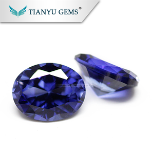 Wholesale Gemstone Processing Synthetic Loose Blue Green Sapphire Blue Stone
