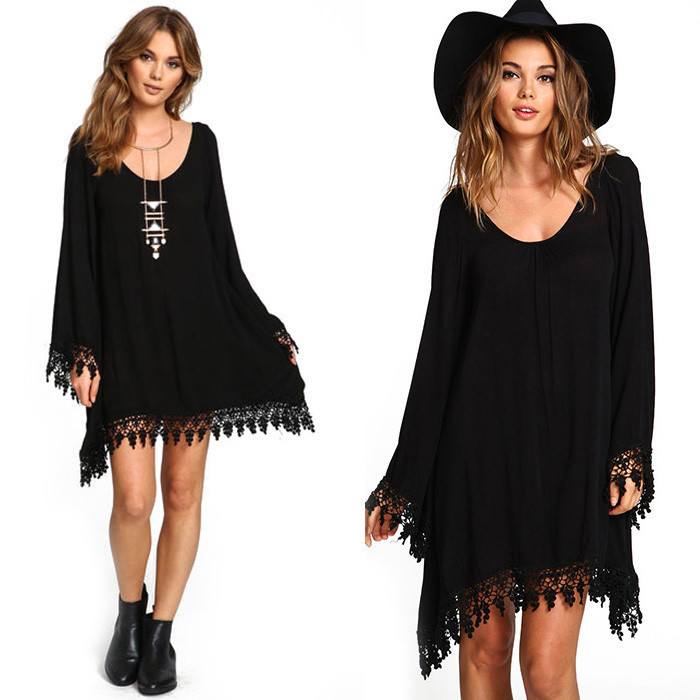 Sexy black lace women tassel dress long sleeve slim chiffon dress
