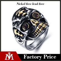 gold silver engraved vintage gothic surgical stainless steel skull ring for man