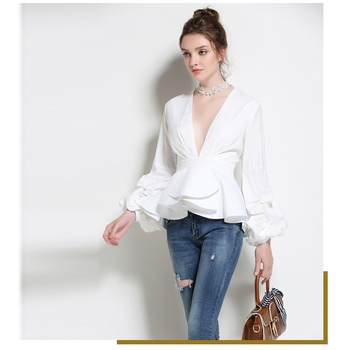 2018 autumn Casual Women V-Neck Long Sleeve ladies Blouses Female Fashion Autumn puffy Shirts Ladies White Tops