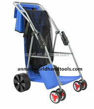 Folding Blue Utility Cart with Cooler for Beach Sports Shopping Camping