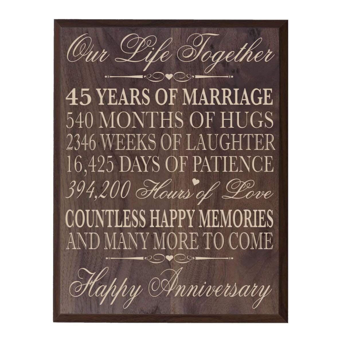 Get Quotations Pas 45th Wedding Anniversary Gifts Wall Plaque For Her