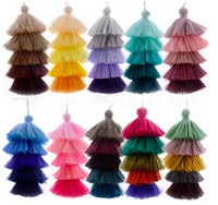 Wholesale Five Colors 124mm Length 5 Layers Craft Fiber Cotton Tassels with Hang Loop