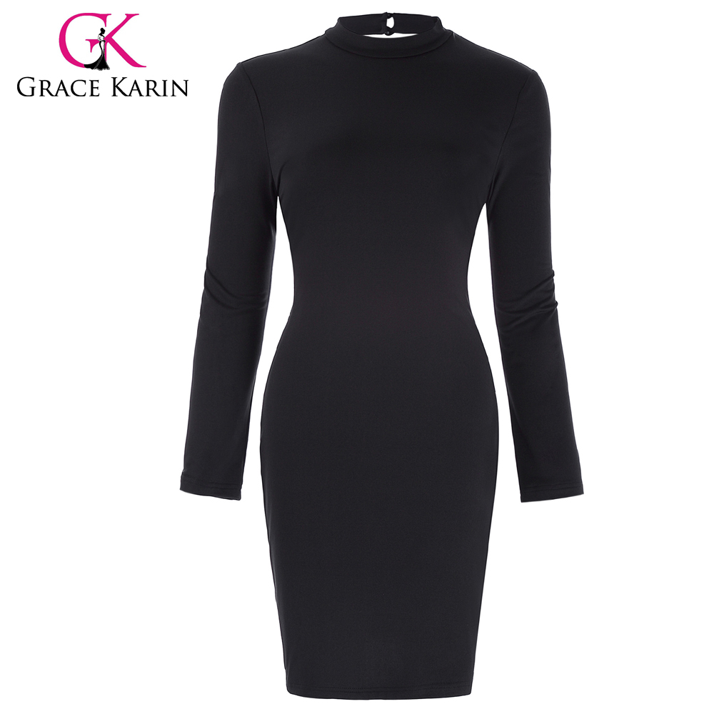 Grace Karin Sexy Womens Long Sleeve High Neck Hollowed Back Bodycon Spandex Black Pencil Dress CL010478-1