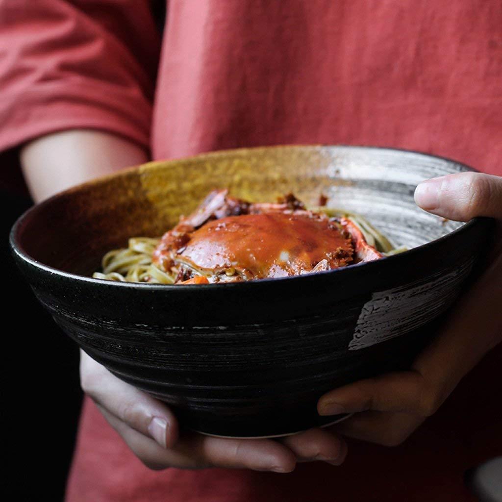 Bowls Pasta 7.5 inch large bowl of ramen bowl ceramic soup bowl retro cutlery bowl (Color : Black, Size : Diameter 20cm8.3cm)