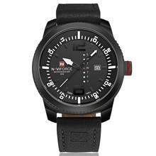 Часы NAVIFORCE с датой, мужские кварцевые часы, повседневные военные спортивные часы, кожаные Наручные часы, мужские часы, 2019(China)